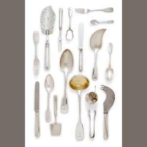 A composite Russian 84 standard silver flatware service for twelve. various makers, Moscow and St. Petersburg, circa 1894-1896