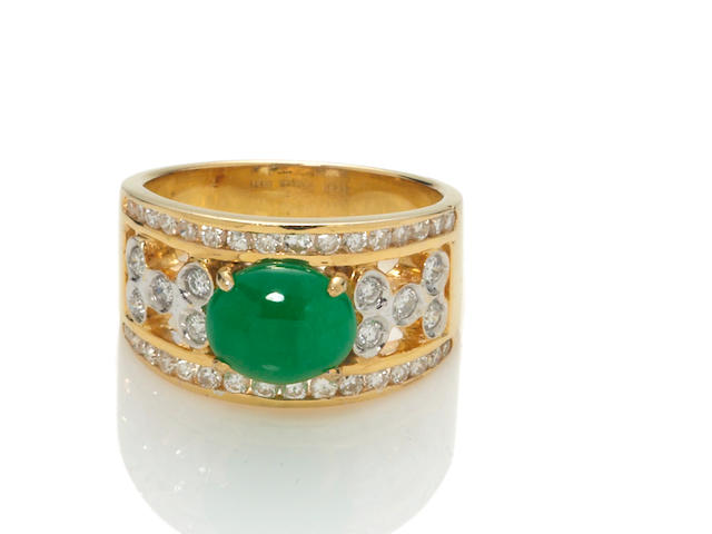 A jadeite jade and diamond ring