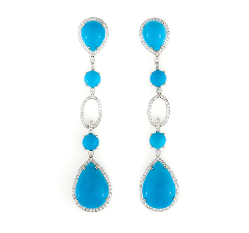 A pair of turquoise and diamond pendant earrings, Eli Frei