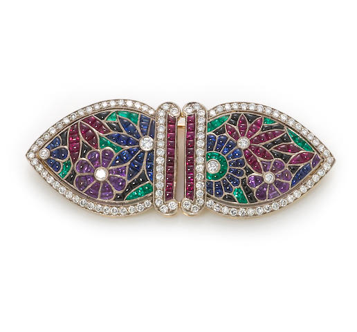 A diamond and gem-set double-clip brooch