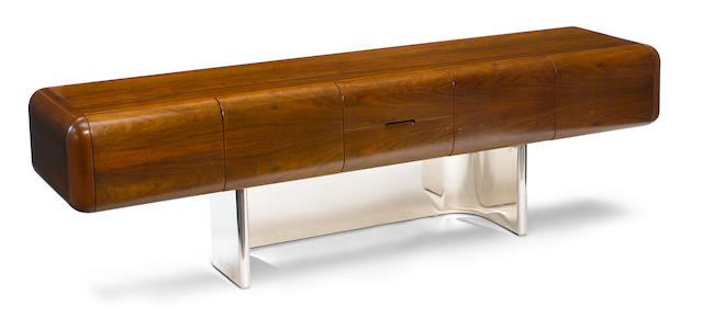 A Stow & Davis walnut and stainless steel credenza designed by M.F, Harty, 1970s