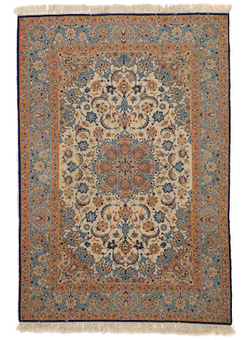 An Isphahn rug  size approximately 3ft. 7in. x 5ft. 3in.