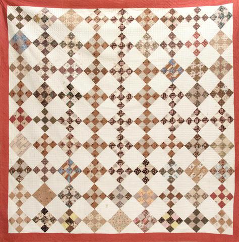 """A large """"9 patch"""" cotton quilt"""