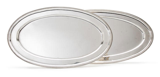 Two Greek sterling silver oval platters<BR />20th century
