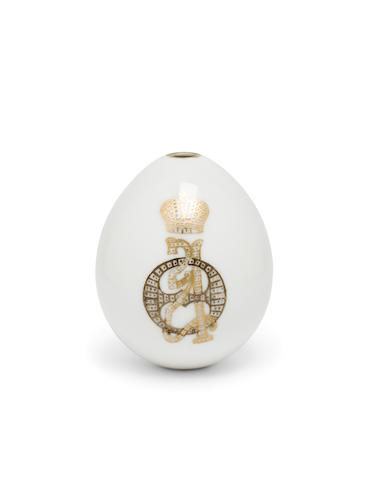 A Russian porcelain presentation egg with cypher of Empress Alexandra Fedorovna<BR />Imperial Porcelain Factory, St. Petersburg, 1914-1917