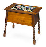 A Catalina Bird of Paradise tile and turned oak sewing table 1920s