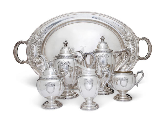 An American sterling silver five-piece tea and coffee service with matching two-handled rectangular tray<BR />Wallace Silversmiths, Inc., Wallingford, CT, mid-20th century