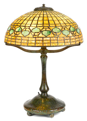 A Tiffany Studios Favrile glass and patinated bronze Acorn table lamp circa 1910