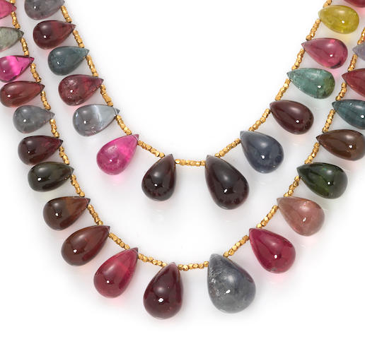A multi-color tourmaline bead double strand necklace