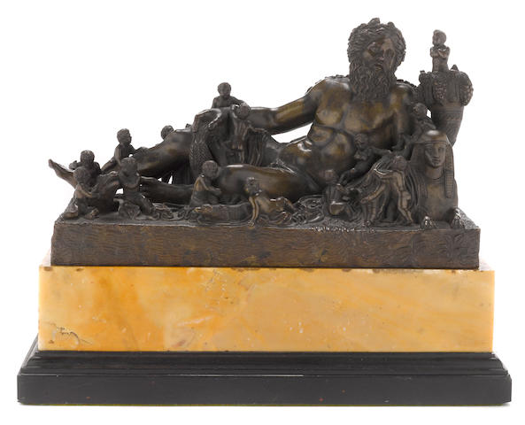 A French patinated bronze allegorical group of the River Nile after the antique follower of Jacques Buirett (French, 1631-1699) early 18th century