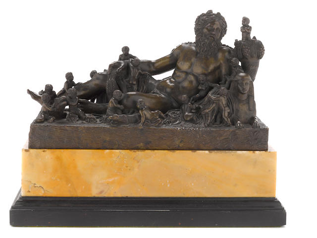 A French patinated bronze allegorical group of the River Nile<BR />after the antique<BR />follower of Jacques Buirett (French, 1631-1699)<BR />early 18th century