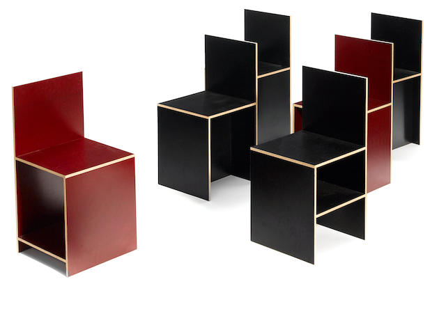 A set of 6 Donald Judd laminate and plywood chairs Brooke Alexander Editions, 2003