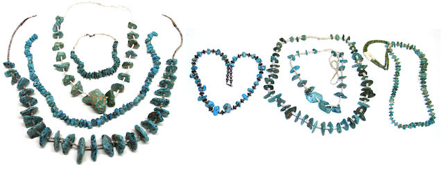 Eight Southwest turquoise necklaces