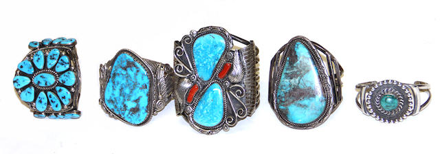 Five Navajo bracelets