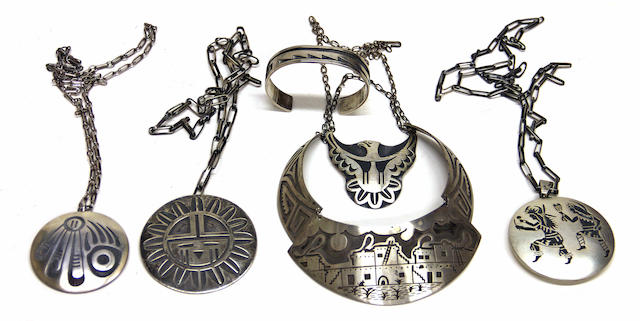 Six examples of Hopi overlay jewelry