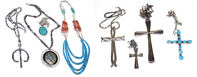 Eight Southwest jewelry items