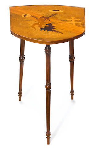 A Gallé marquetry and turned walnut shield shaped occasional table circa 1900