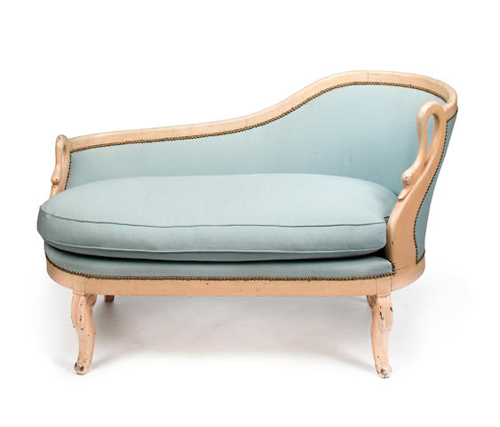 Attributed to Stephane Boudin for Jansen, Meridienne, mid 20th c., cream painted wood with light blue fabric upholstery, h x l x d: 31 x 50 x 25 1/2in. (79 x 127 x 65cm)