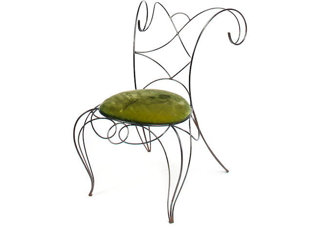 André Dubreuil 	Chair 	enameled metal and green velvet 	h x w x d: 33 x 21 x 23in. (84 x 53.2 x 58.5cm)