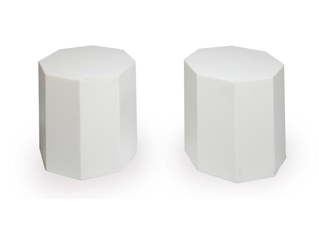 Alessandro Albrizzi 	Pair of octagonal side tables 	1970s 	white acrylic 	h x diameter: 15 x 14 3/4in. (38.5 x 37.5cm)