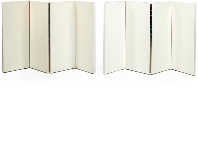 Peter Kent 	Pair of white lacquered table screens, last quarter of the 20th c.