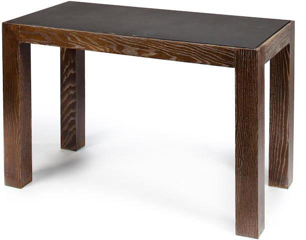 Peter Kent Console table with marble Ebonized oak with slate inset top 30in (76 1/2cm); 47 1/4in. (120cm); 23 ½in.  (60cm)