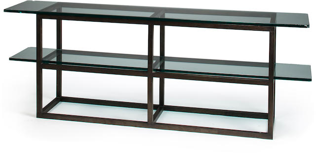 Peter Kent console table 	patinated metal and glass 	(one glass top and shelf)