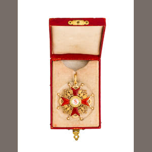A Russian Imperial order of St. Stanislaus, third class sash badge.  partial maker's mark, probably St. Peterburg, 1908-1917