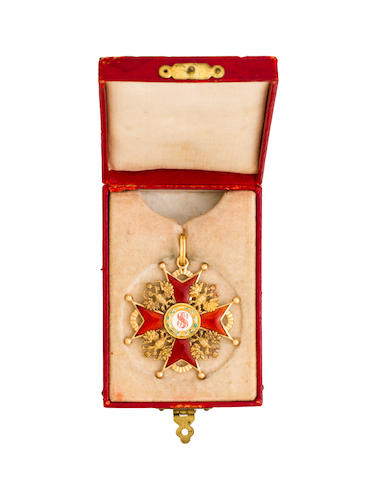 A Russian Imperial order of St. Stanislaus, third class sash badge  partial maker's mark, probably St. Peterburg, 1908-1917