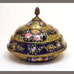 A Continental enamel domed covered dish 19th century