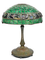 A Tiffany Studios Favrile glass and patinated bronze Turtleback tile lamp 1898-1918
