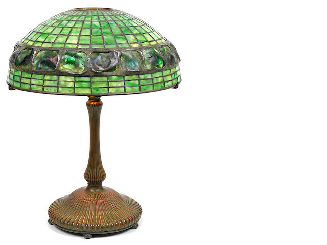 A Tiffany Studios Favrile glass and patinated bronze Turtleback tile lamp