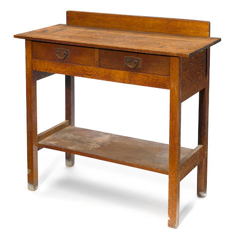 A Gustav Stickley oak two drawer server model number 802, early 20th century