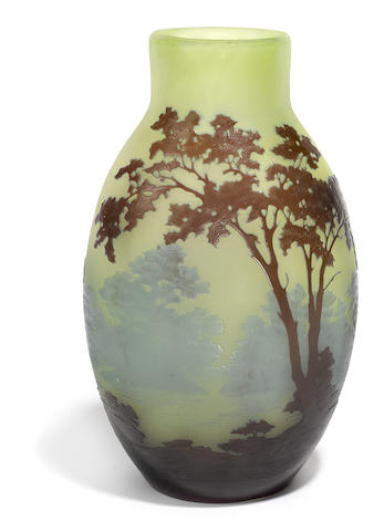 A Gallé cameo glass landscape vase circa 1900
