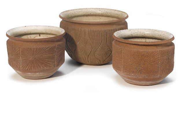 A group of three Robert Maxwell for Earth Gender earthenware Planters designed circa 1968