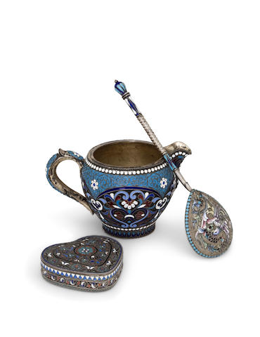 Three Russian 84 standard silver-gilt and cloisonné enamel pieces<BR />Nikolay Alekseev, Moscow, 1894; unidentified maker, Moscow, c. 1900; Ivan Fedorov, Moscow, 1887