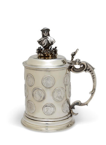 A Swedish parcel gilt silver tankard inset with medallions<BR />by G. Hammer, Stockholm, 1866
