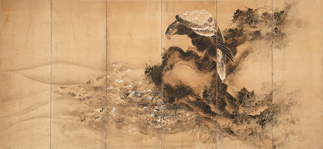 Unidentified Artist (19th century)<BR />Hawks at Seashore