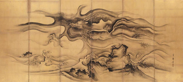 Nihonga school (19th century)<BR />Dragon in Clouds