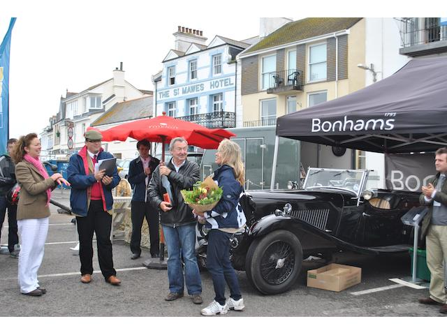 Nick Mason, overall winner of the St Mawes Classic Car Festival, with Rob Hubbard