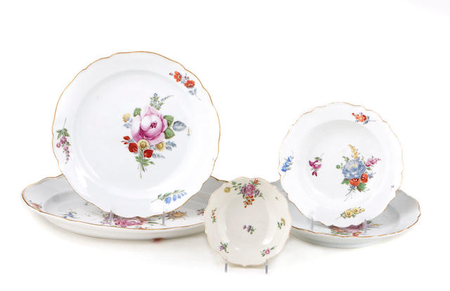 Five Meissen porcelain serving dishes
