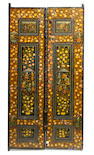 A pair of Persian polychrome wood paneled doors