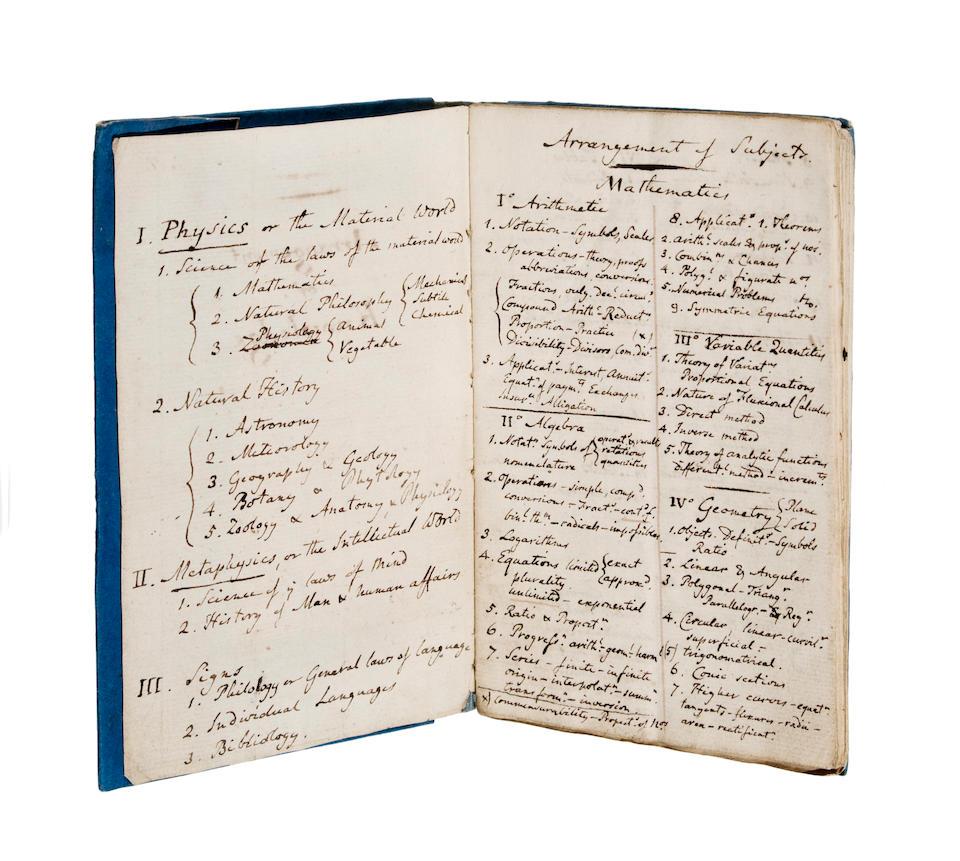 "ROGET, PETER MARK. 1779-1869. Autograph Manuscript entitled ""Classification"" and ""Arrangement of Knowledge"" [London, c.1805.]"