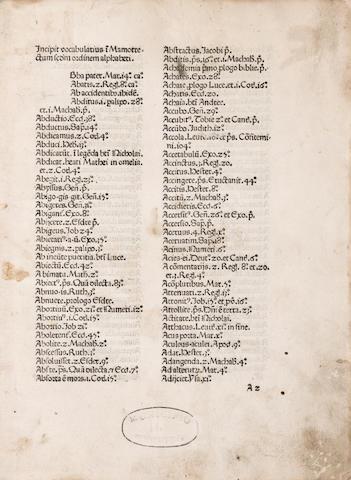 MARCHESINUS, JOANNES. Late 13th/early 14th c. Mammotrectus super Bibliam. Venice: Franciscus Renner de Heilbronn & Nicolaus de Frankfordia, 1476.