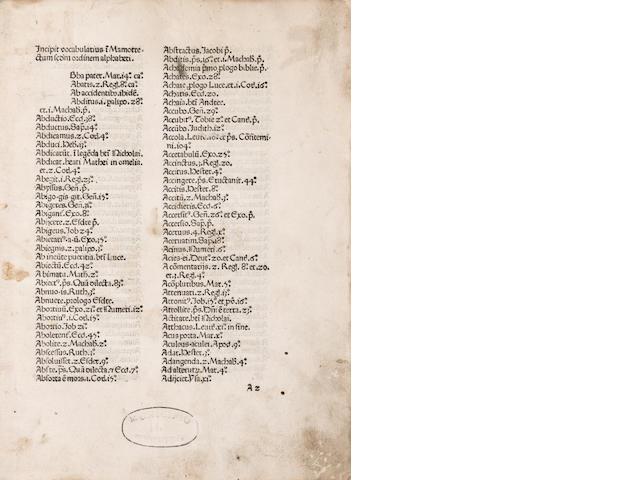 MARCHESINUS, JOANNES. Mammotrectus super Bibliam. Venice: Franciscus Renner de Heilbronn & Nicolaus de Frankfordia, 1476.