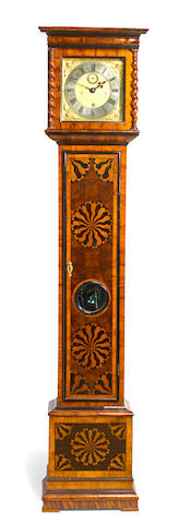 A Charles II olivewood parquetry month going longcase clock Signed Tho : Tompion Londini Fecit, circa 1680 and later