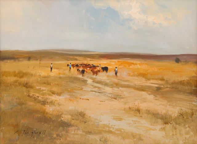 Christopher Tugwell (South African, born 1938) Cattle in a landscape