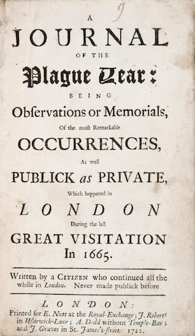 [DEFOE, DANIEL] A Journal of the Plague Year