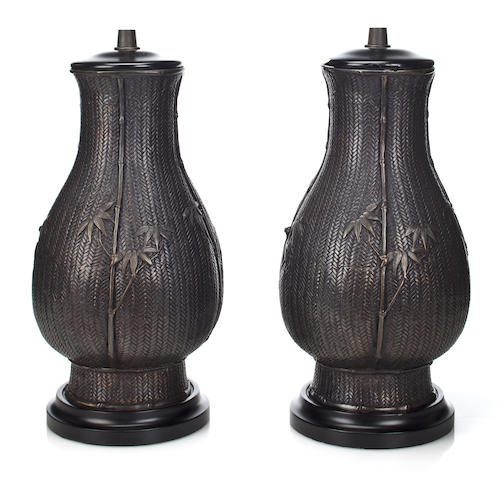 A pair of Japanese patinated bronze Ikebana basket-form vases late Meiji period, now mounted as table lamps