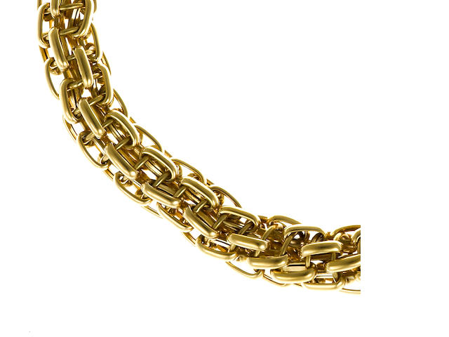 An eighteen karat gold graduated link chain necklace, Bulgari